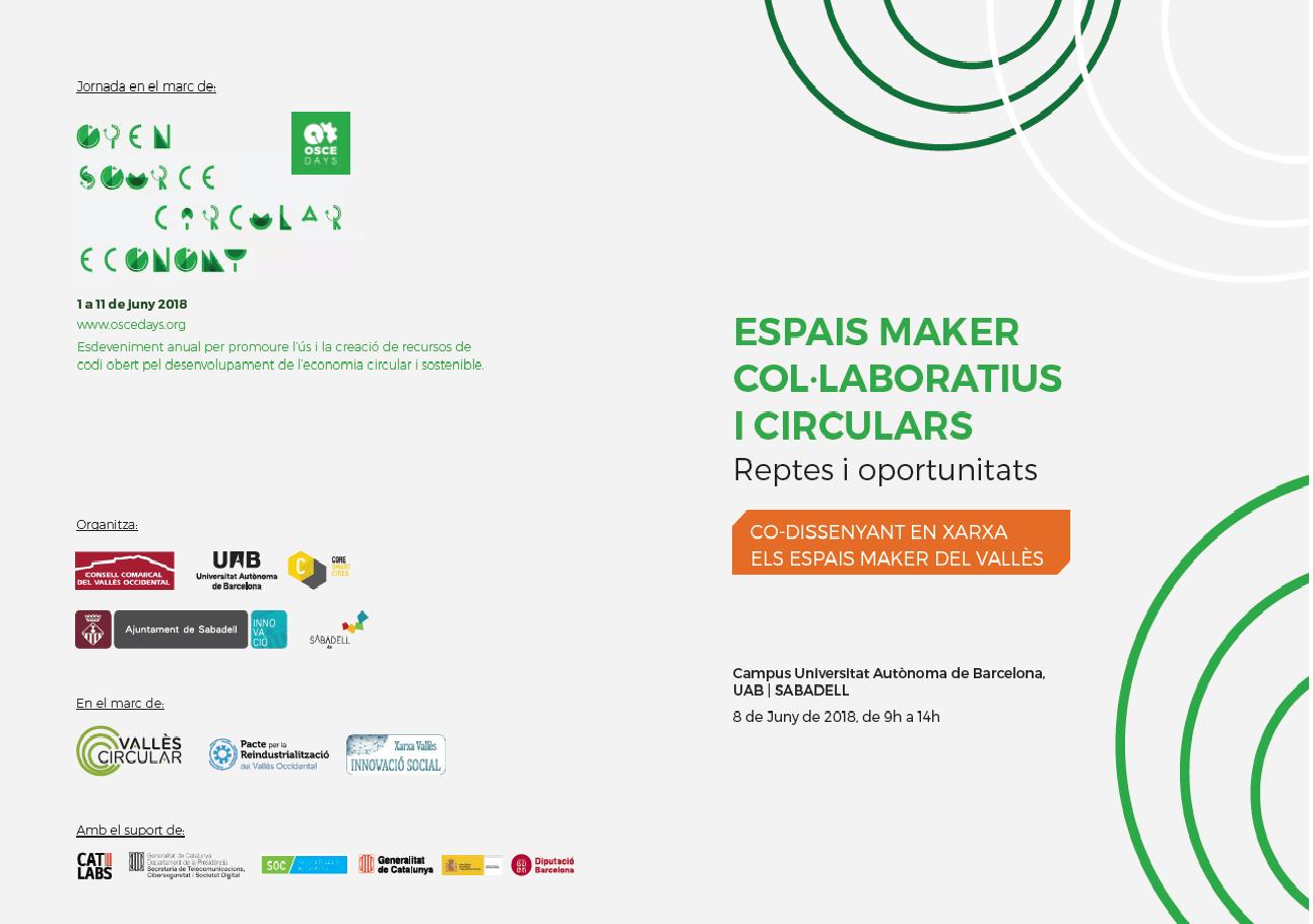 Jornada Espais Maker Col·laboratius i Circulars – Inscripció oberta