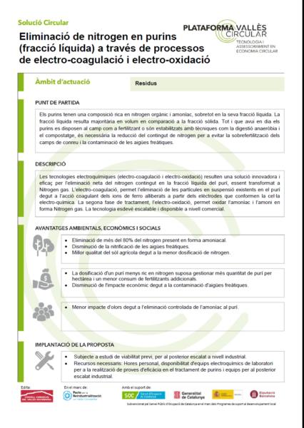 Eliminació de nitrogen en purins (fracció líquida) a través de processos de electro-coagulació i electro-oxidació,