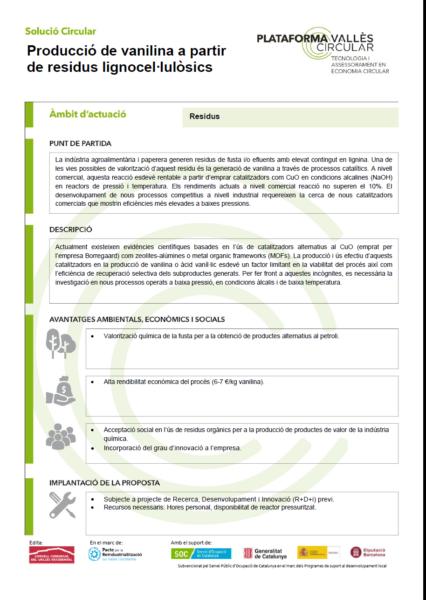 Producció de vanilina a partir de residus lignocel·lulòsics,
