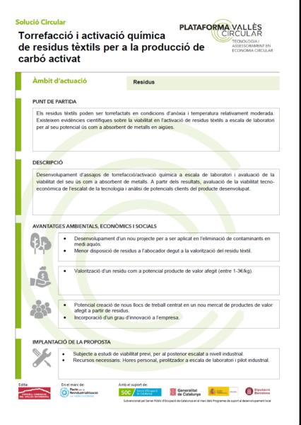 Torrefacció i activació química de residus tèxtils per a la producció de carbó activat,
