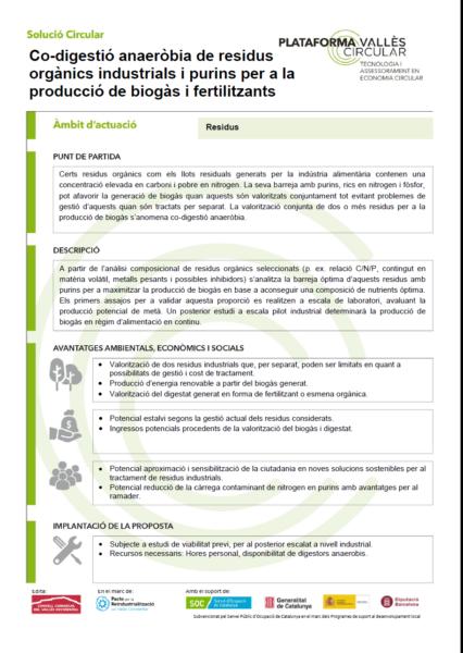 Co-digestió anaeròbia de residus orgànics industrials i purins per a la producció de biogàs i fertilitzants,