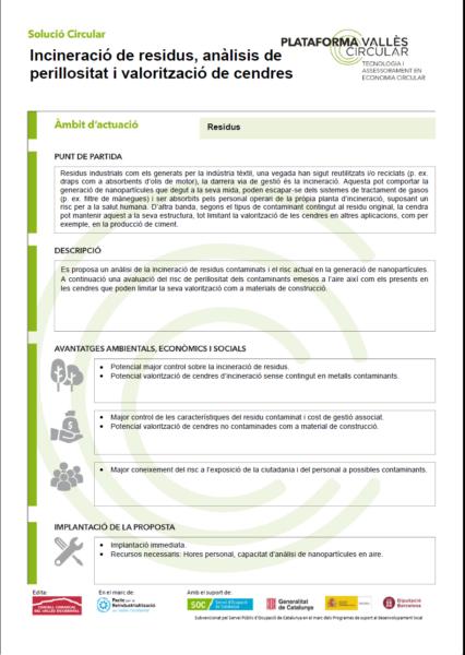 Incineració de residus, anàlisis de perillositat i valorització de cendres,