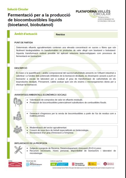 Fermentació per a la producció de biocombustibles líquids (bioetanol, biobutanol),