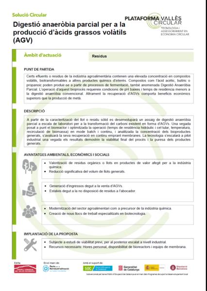 Digestió anaeròbia parcial per a la producció d'àcids grassos volàtils (AGV),