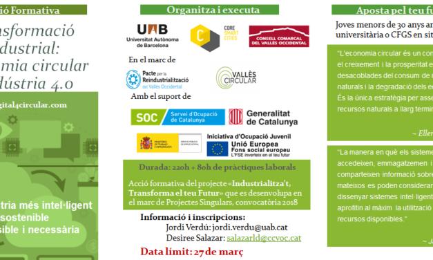 """La UAB i el Consell Comarcal del Vallès Occidental organitzen l'acció formativa """"Transformació industrial: economia circular i indústria 4.0"""""""